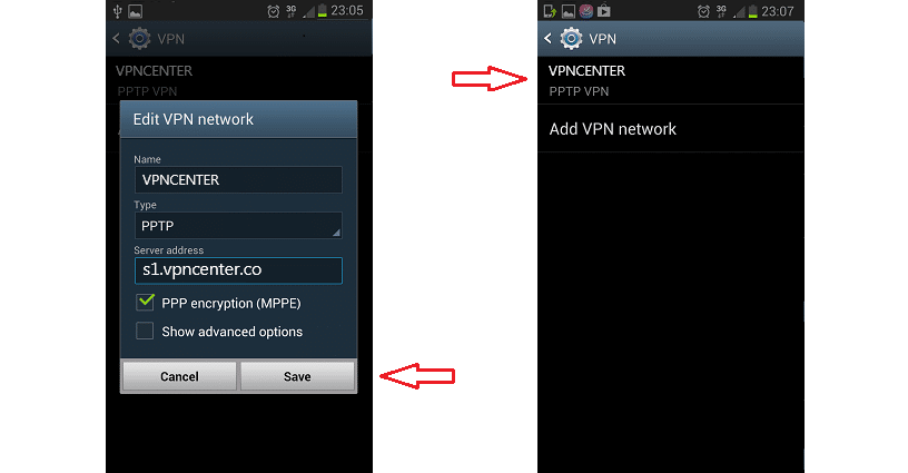 android step3 - Android PPTP Vpn Setup